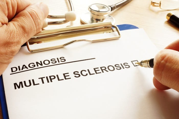 A patient diagnosed with multiple sclerosis